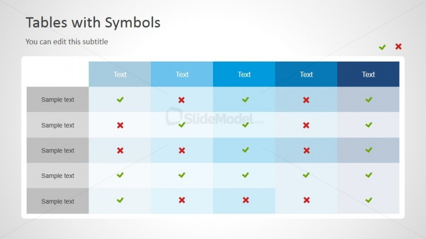 Check And Cross Icon Table Symbols