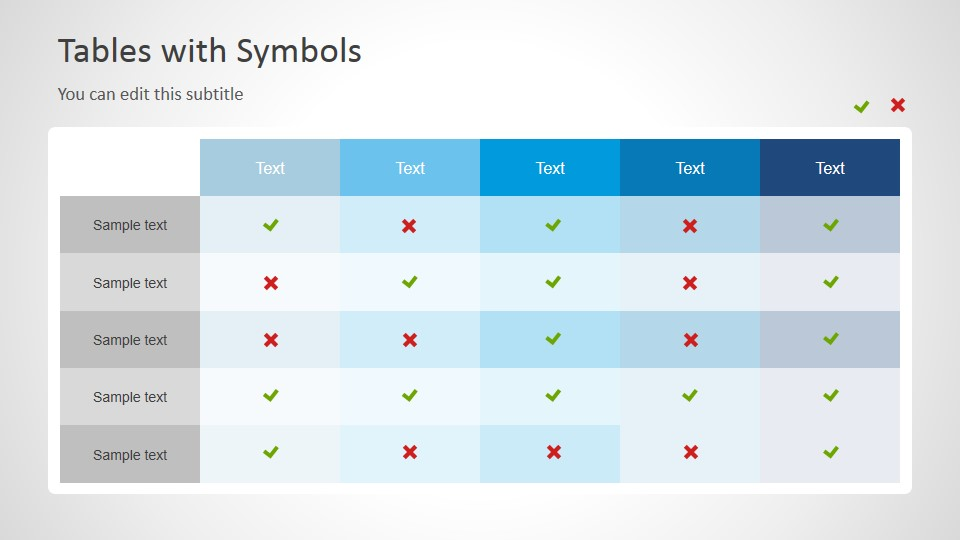 Check And Cross Icon Table Symbols