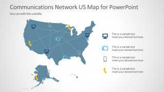 Communications Network Template with US Map for PowerPoint - SlideModel