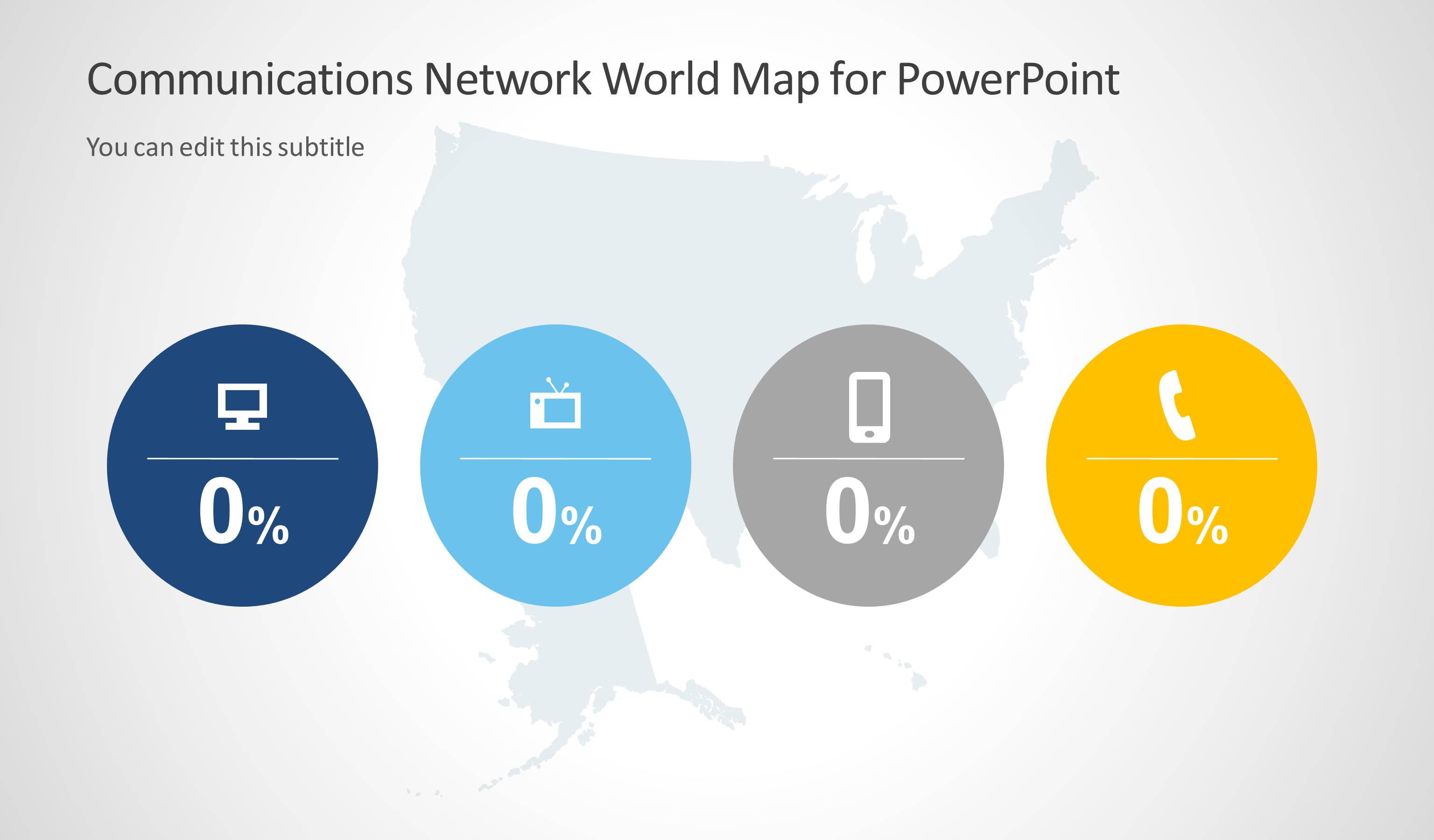 communications network template with us map for powerpoint slidemodel