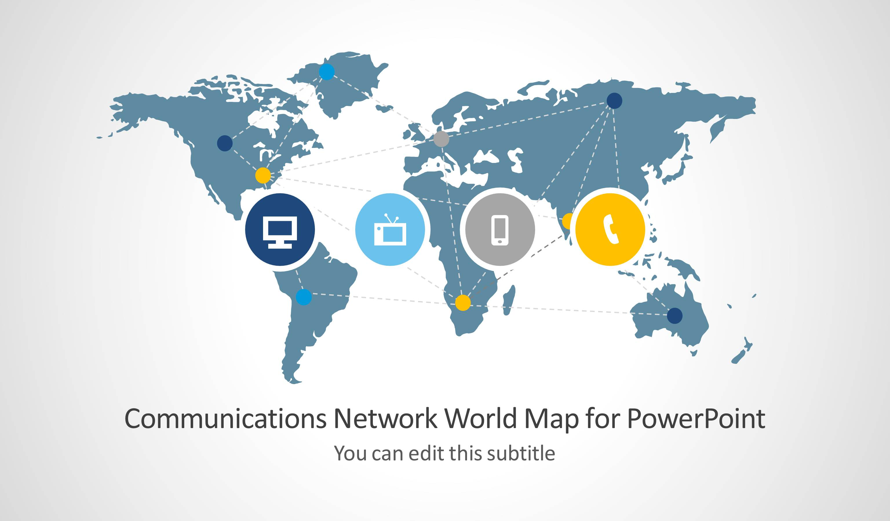 Communications Network Template With World Map For Powerpoint