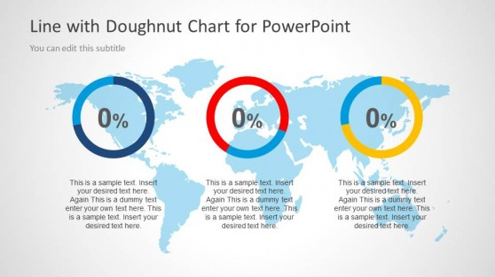 3 Doughnut Charts in PowerPoint Slide with World Map Illustration