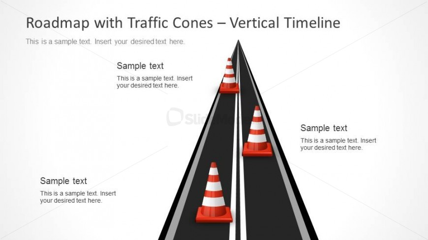 Strategy Roadmap Slide Design with Road Illustration and Cones