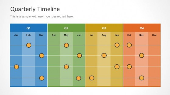 Colorful Quarterly Timeline Slide Design with Months