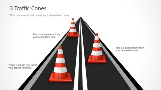Timeline Traffic Cones with 3 Milestones for PowerPoint