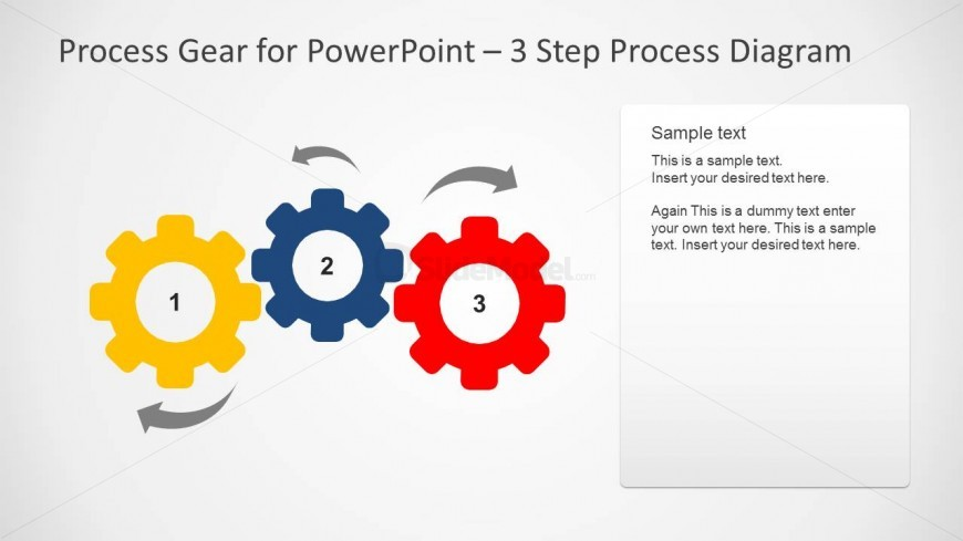 Simple Process Gear Slide Design for PowerPoint with 3 Steps