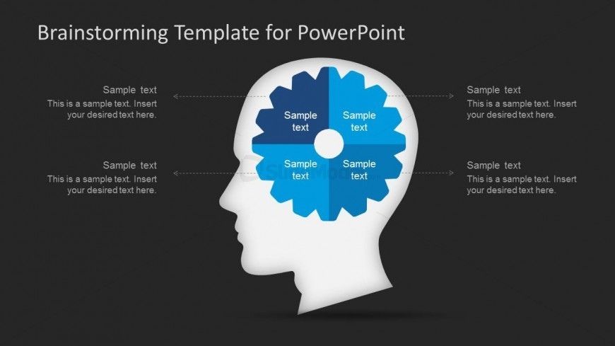 PowerPoint Brainstorming Head and Gear Scene