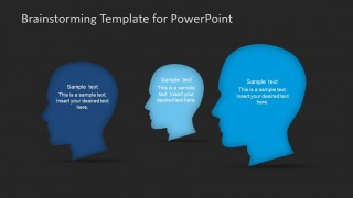 PowerPoint Shapes Featuring Three People Brainstorming Meeting