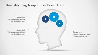 PowerPoint Shapes of Head Silhouette with Gears Brain