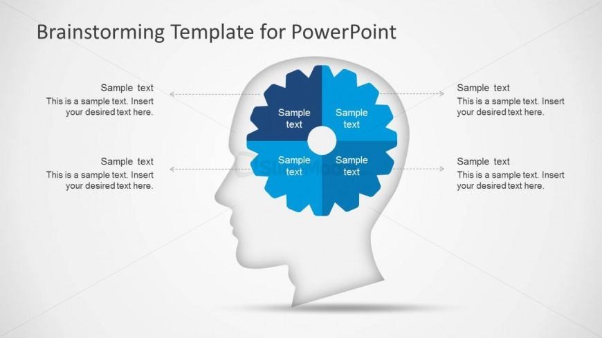 PowerPoint 4 Quadrants Gear Inside Brain Metaphor
