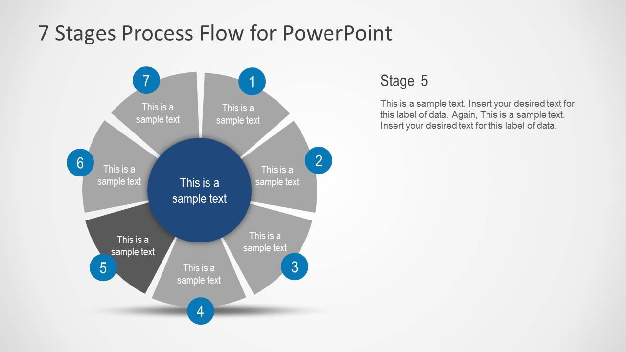7 stages process flow diagram for powerpoint slidemodel. Black Bedroom Furniture Sets. Home Design Ideas