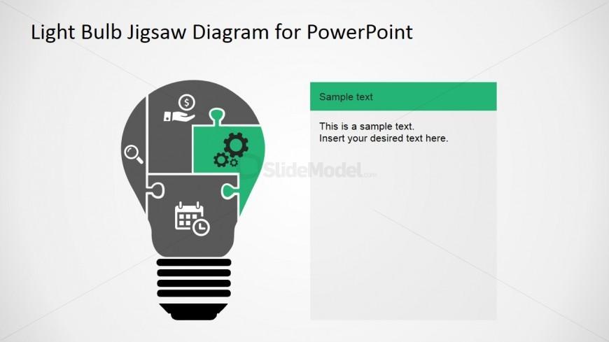 PowerPoint Puzzle Diagram Light Bulb Silhouette