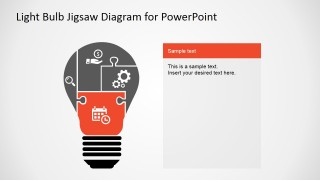 PowerPoint Jigsaw Ligh Bulb Segmented Diagram with Icons