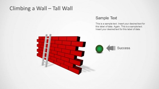 Climbing to Success PowerPoint Template with Brick Wall