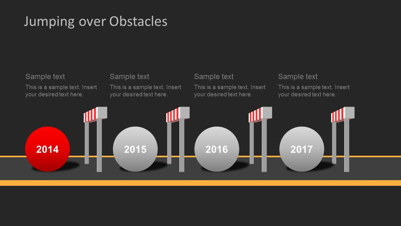 dark challenges  u0026 hurdles timeline for powerpoint