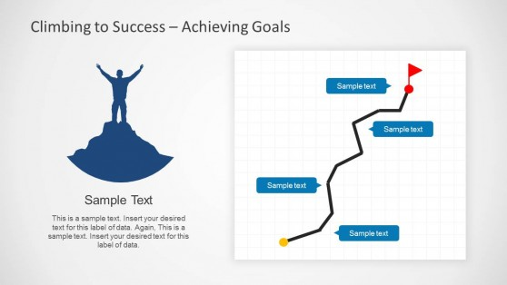 Success Slide Design with Path Tracking Illustration and Mountaineer