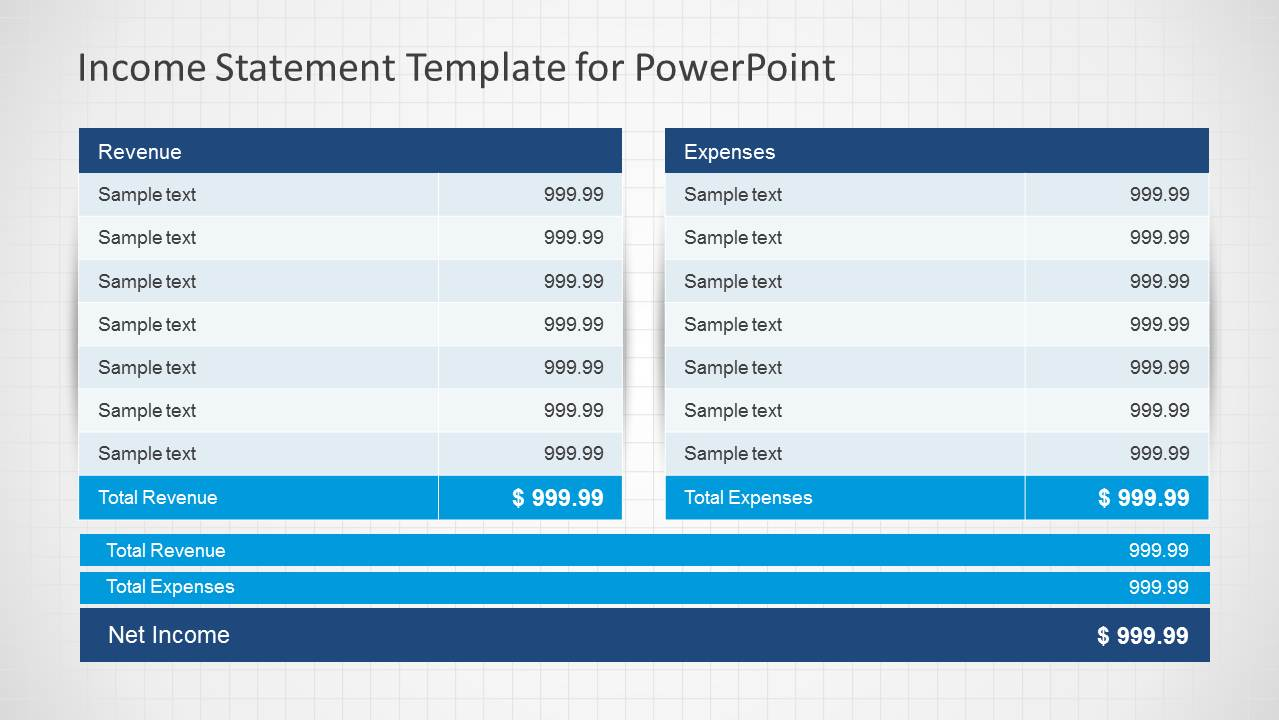 Income Statement PowerPoint Template  Income Report Template