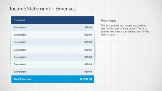 Income Statement Expenses slide design template for PowerPoint