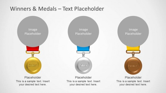 3 Medal Shapes with Image Placeholder for PowerPoint