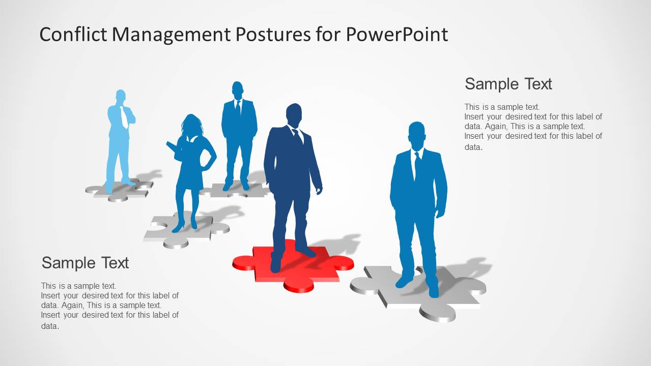 conflict of interest management plan template - conflict management postures for powerpoint slidemodel