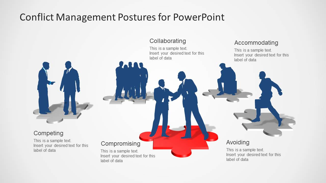 conflict management business silhouettes slidemodel