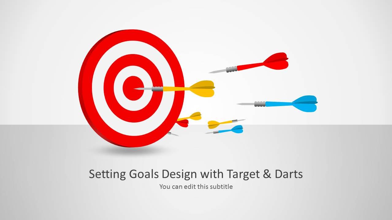 setting goals template for powerpoint with target & darts - slidemodel, Modern powerpoint