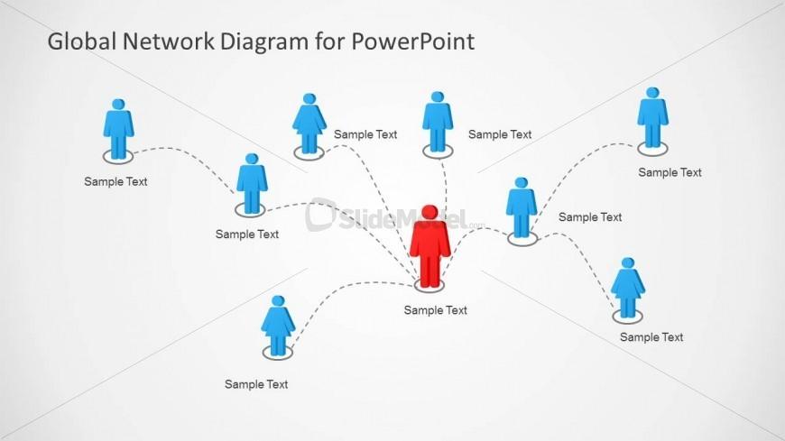 Global Network With Avatar Illustration Slide Design