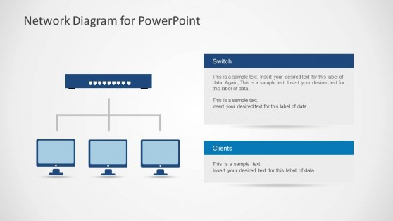 Network Diagram with Router and Client Computers for PowerPoint