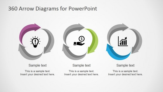 Flat Design Material Arrows 360 Loops for PowerPoint