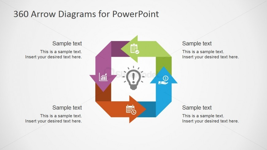 PowerPoint Circular Diagram with Square Arrows