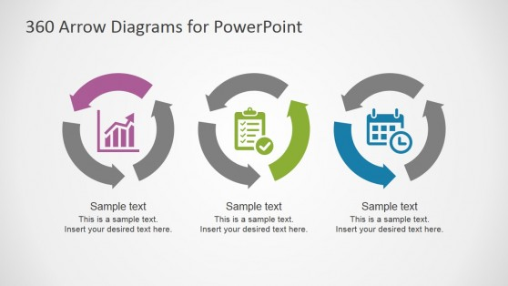 Three Steps Circular Diagrams with Arrows for PowerPoint