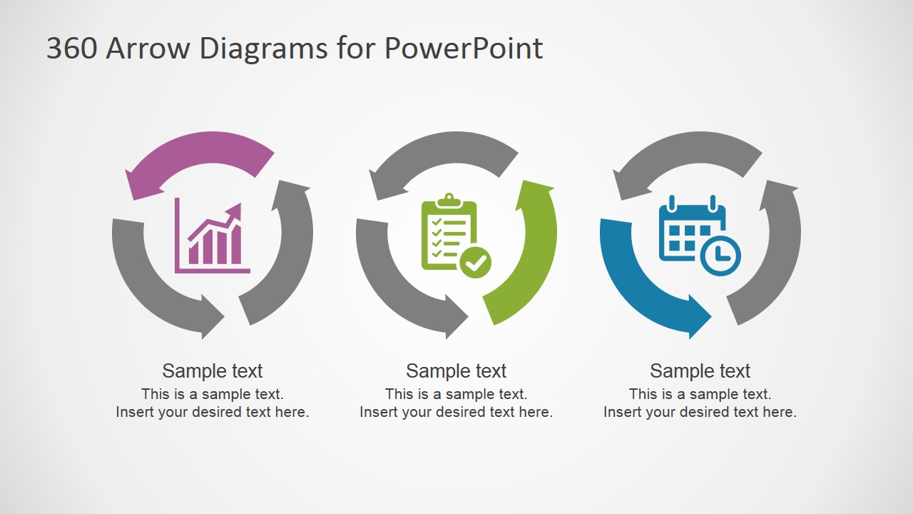 PowerPoint Template with Three Circular Process Diagrams