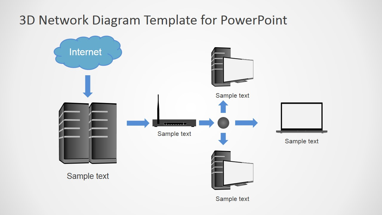 d computers network diagram for powerpoint   slidemodel    diagram topology  powerpoint template local area network