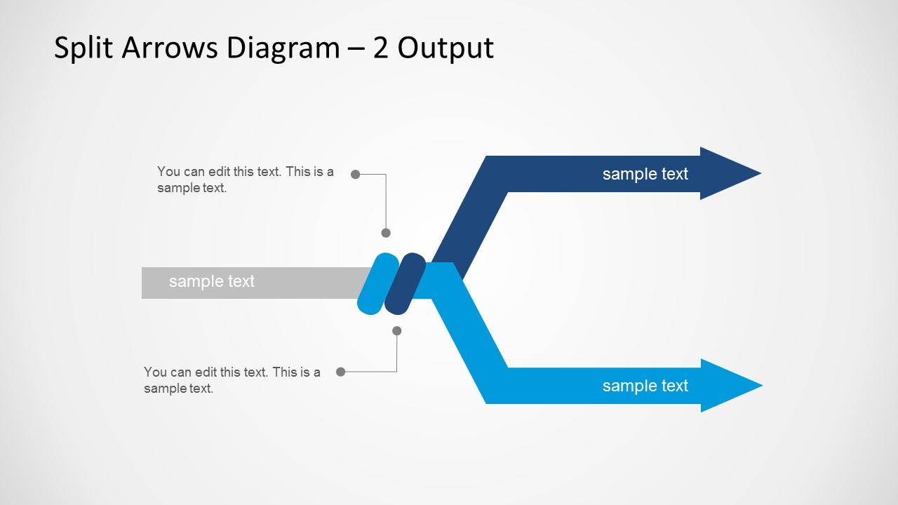 Split Arrows Diagram Template For Powerpoint