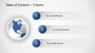 Creative slide design with 3 bullet points and globe illustration in PowerPoint