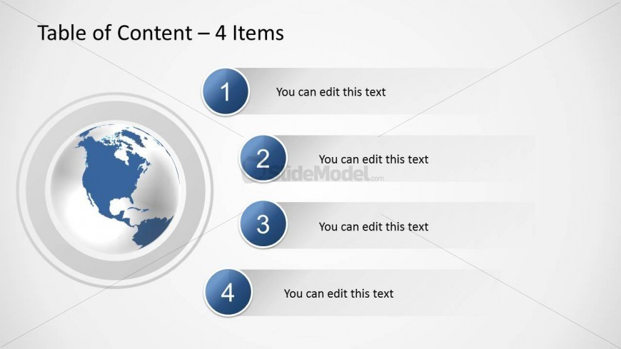 Creative Agenda Slide Design with Table of Content and 4 Bullet Points