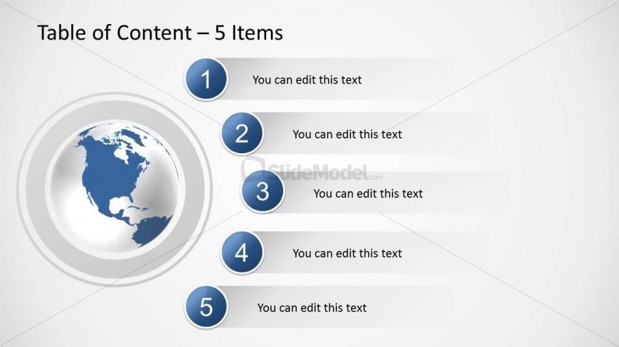 5 items agenda slide design for powerpoint slidemodel for Table design google slides