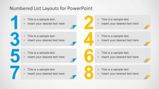 8 Numbered List for PowerPoint - Alternative to Bullet Points