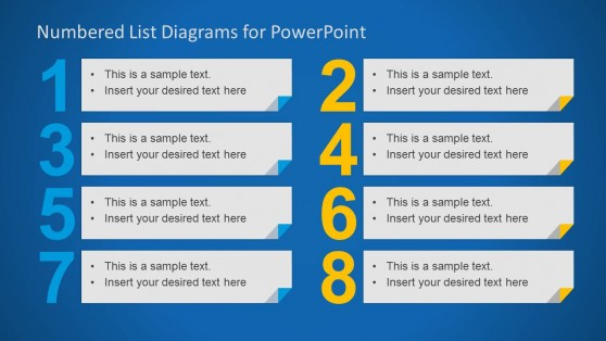 8 Elements in a Numbered List for PowerPoint