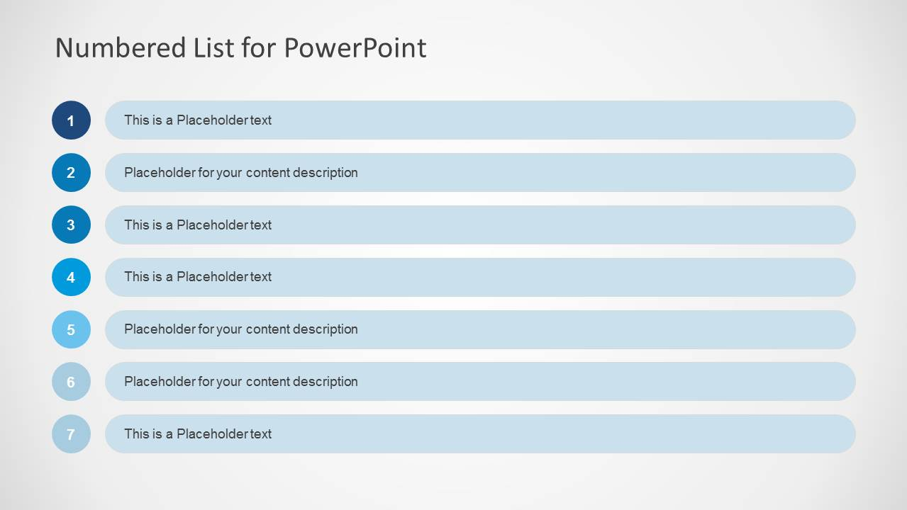 PowerPoint Table of 7 Rows