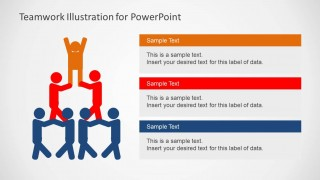 Teamwork Pyramid PowerPoint Slide Design With Text Boxes