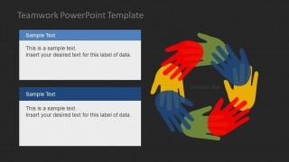 Teamwork powerpoint template slidemodel creative and instilling teamwork powerpoint template motivates the audience to develop the art of teamwork colorful flat hands gesture for unity and toneelgroepblik Gallery
