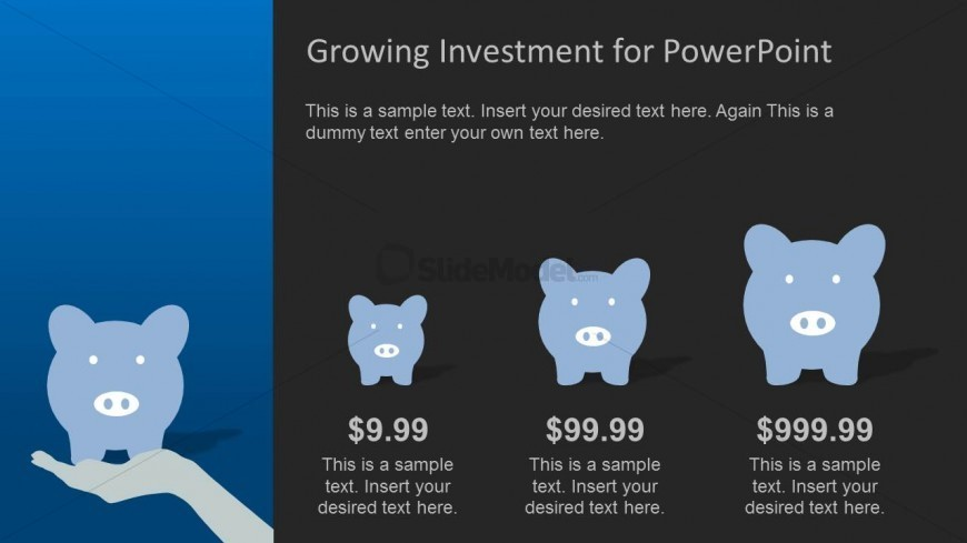 PowerPoint Piggy Bank Bar Chart with Black Background
