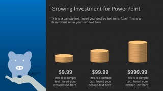 PowerPoint Coins Bar Chart with Dark Background