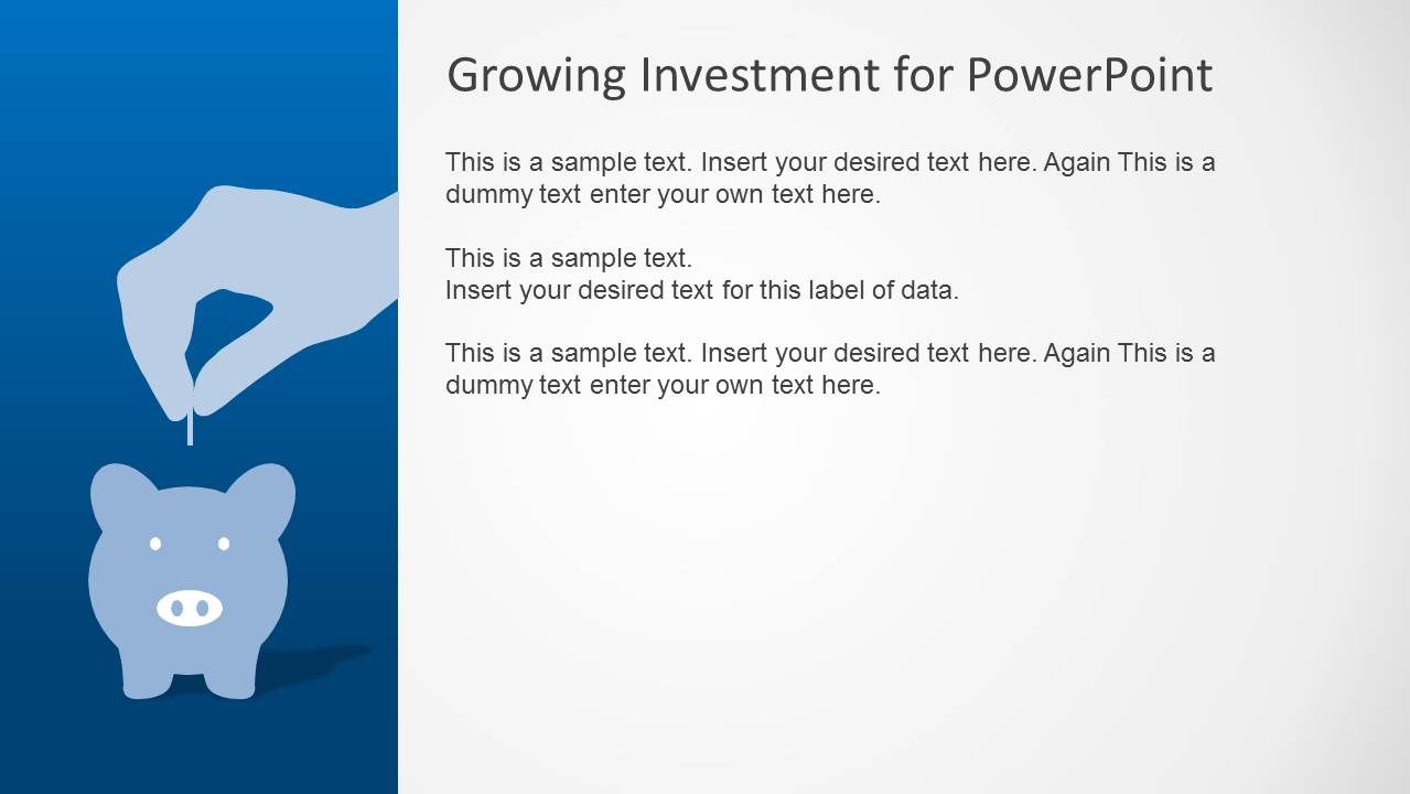 Blue growth investment powerpoint template slidemodel powerpoint piggy bank saving metaphor alramifo Gallery
