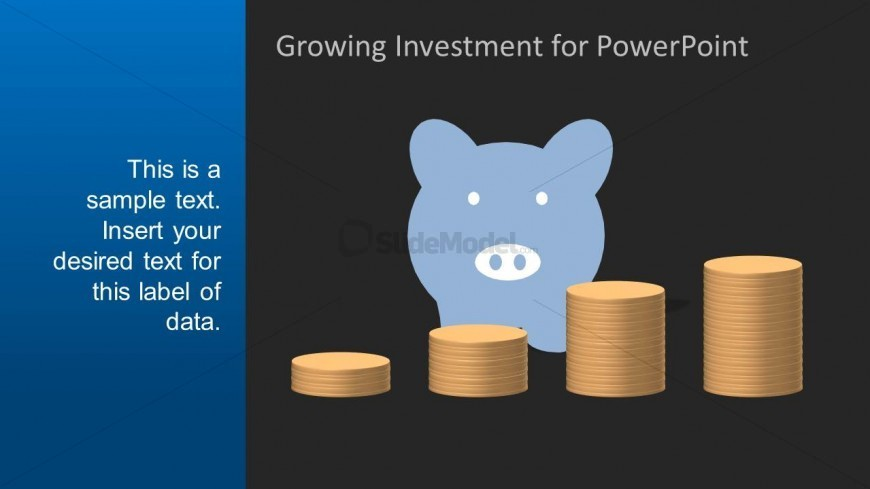 PowerPoint Shape of Piggy Bank with Black Background