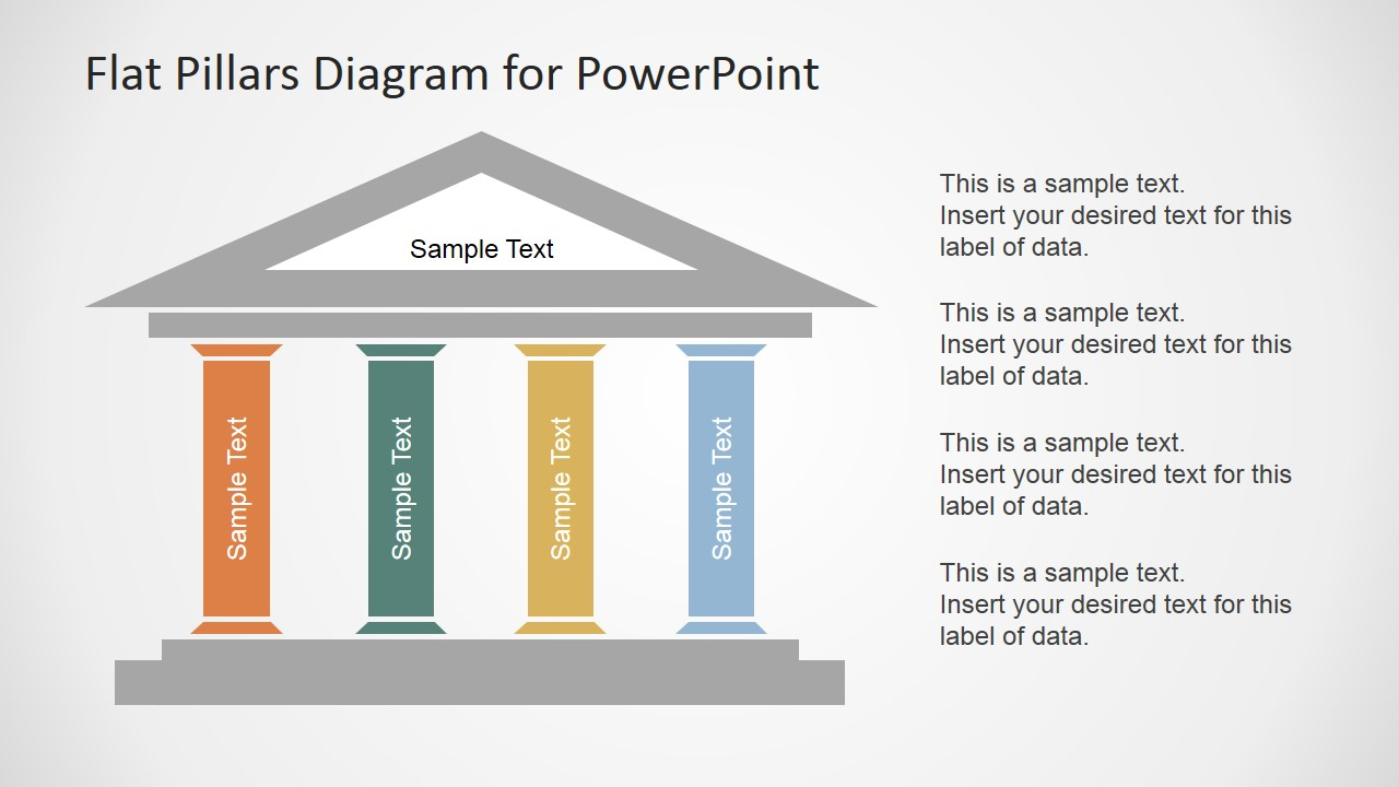 Flat Pillars Diagram For PowerPoint SlideModel