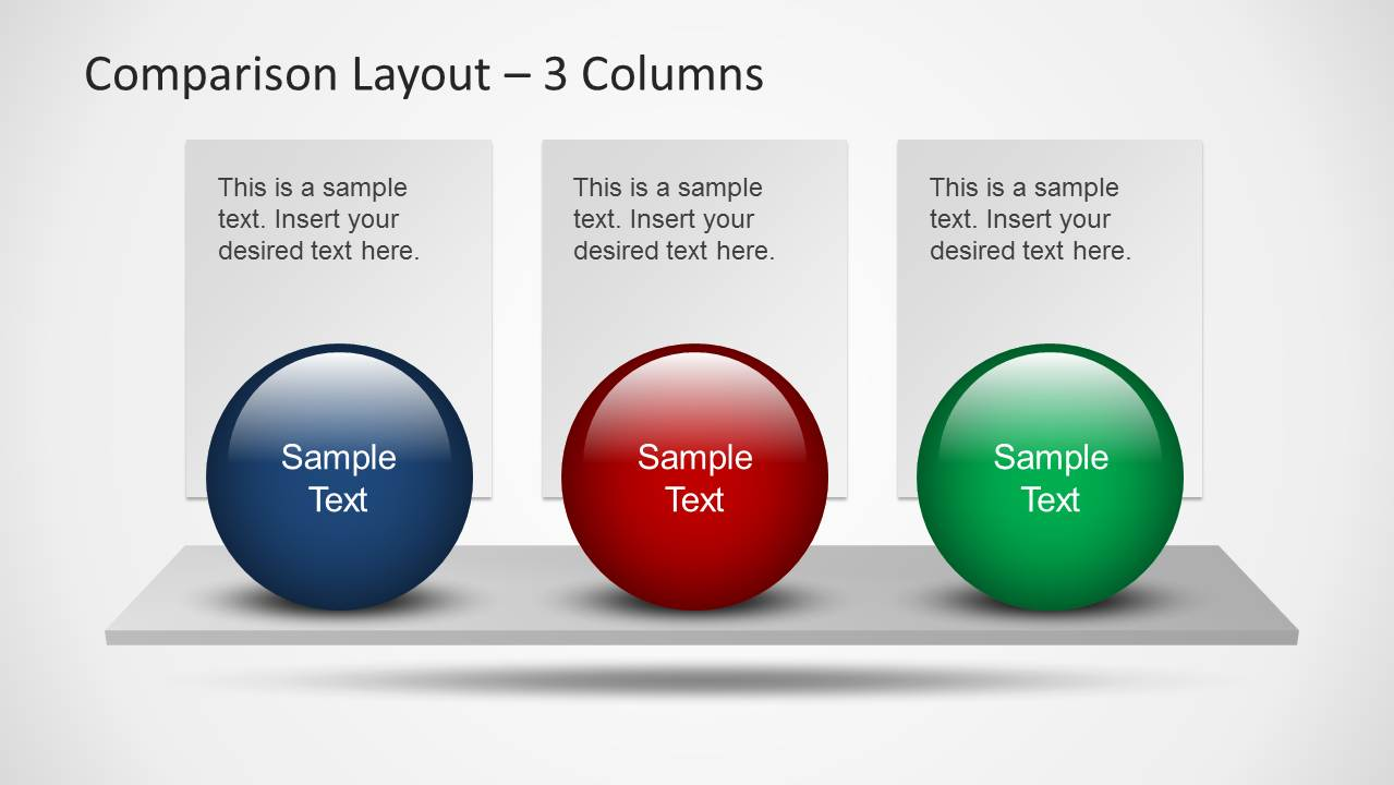 comparison powerpoint slide layout with 3 items slidemodel