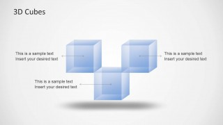 3D Cubes PowerPoint Template with 3 Cubes