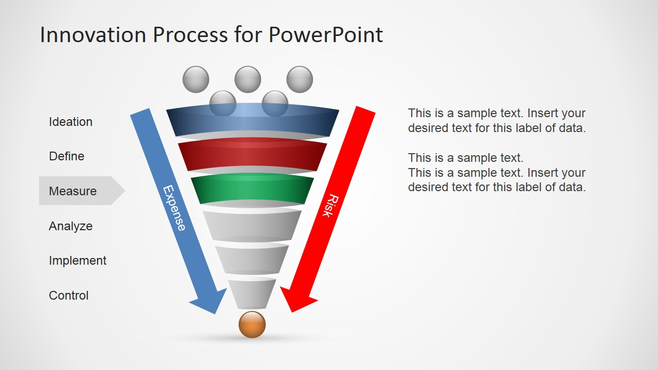 innovation process funnel diagram for powerpoint